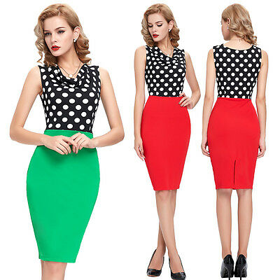 Cheap Women Wear to Work Skirts Vintage Polka Dots Pencil Cocktail Bodycon Dress