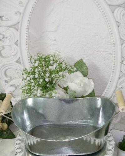 Pflanzschale Pot De Plantation zinc bois pot de fleurs shabby chic déco maison de campagne 15x23cm