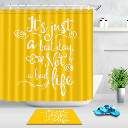 """60//72/"""" It/'s Just a Bad Day Not a Bad Life Yellow Shower Curtain Set Bathroom Mat"""