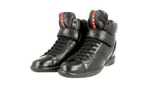 38 3tz043 Luxus Schuhe Prada Neu Schwarz High Top Stiefelette 5 Sneaker 38 thQrCsd