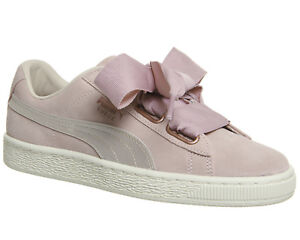 8505229fc33 Womens Puma Suede Heart Trainers Silver Pink Tint Rose Gold Trainers ...