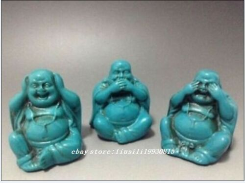 A set China Old Tibet Turquoise Handcarved 3 Smile Maitreya Buddha Statues