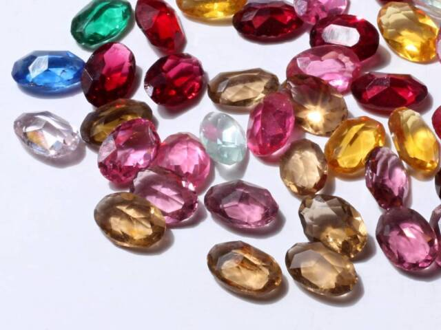 Lot (50) 12mm Czech Bohemian vintage mixed color oval faceted glass rhinestones