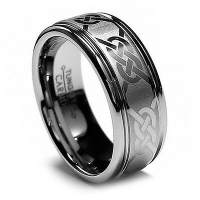8MM Men's Tungsten Ring Wedding Band, Beveled Edge, Laser Etched Celtic Design!