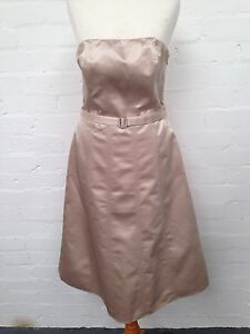 Debenhams-Debut-Cream-Satin-Dress-Size-Uk10-Good-Condition