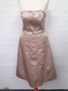 Debenhams-Debut-Cream-Satin-Dress-Size-Uk10-Good-Condition