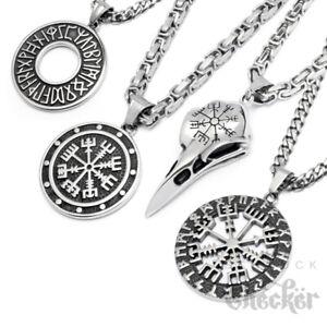 Edelstahl-Anhaenger-Schutz-Runen-Vegvisir-Vogel-Wikinger-Herren-Schmuck-Halskette