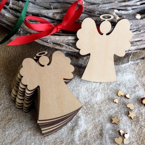 De Madera Angels para decoraciones de Navidad Etiquetas Artesanías Adornos formas X10