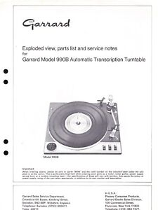 GARRARD EXPLODED DIAGRAM  & PARTS LIST for a MODEL 990B AUTO TURNTABLE