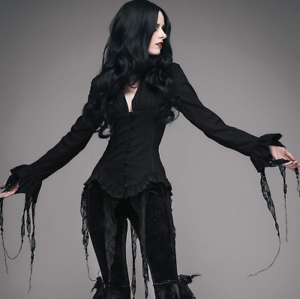schwarz Victorian vamphire goth shirt lace long sleeve corset back top Xlarge