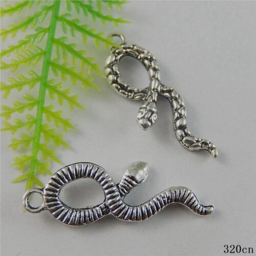 10pcs Vintage Silver Alloy Cute Snake Pendants Charms Findings Crafts 50788