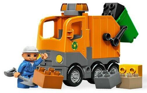 LEGO Duplo orange Garbage Truck (5637)complete with workman &  green wheelie bin