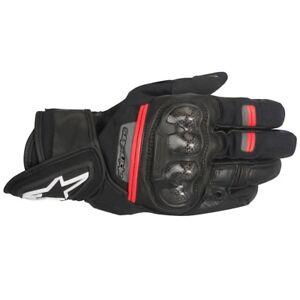 Alpinestars-Rage-Drystar-Waterproof-Short-Motorcycle-Leather-Gloves-Black-Red
