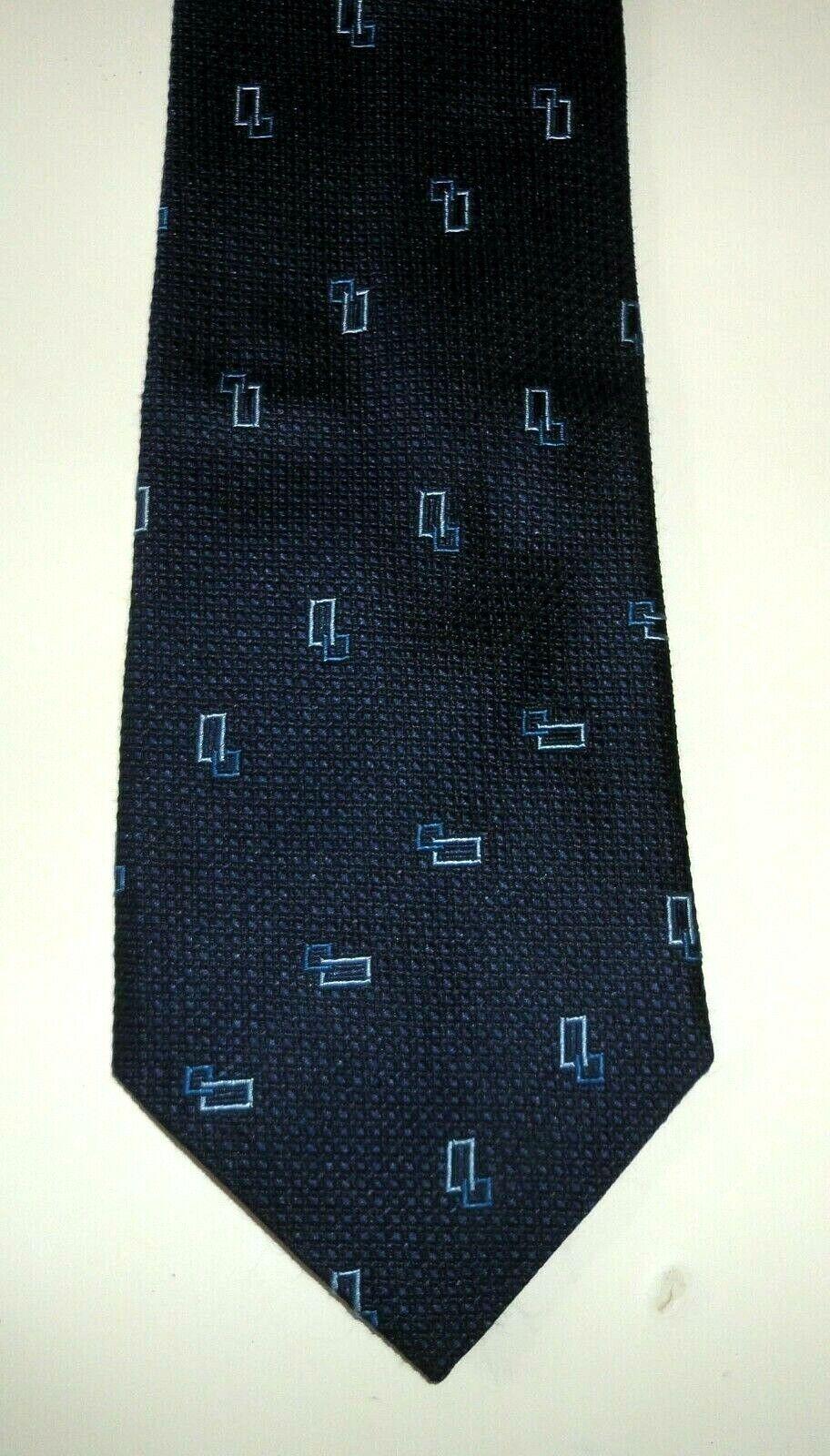 Tie Tie Tie Duck - 100% Silk-Navy/Light Blue Rectangles