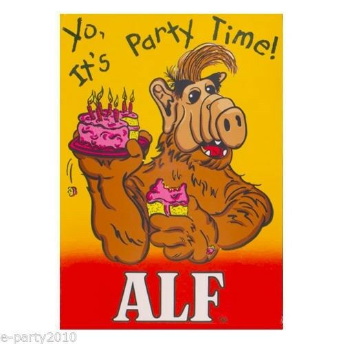 8 ALF INVITATIONS ~ Birthday Party Supplies Vintage Cards Notes Stationery