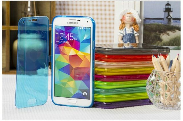 WALLET FLIP TPU SILICONE GEL CASE COVER FOR SAMSUNG GALAXY S5 i9600