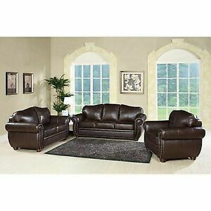Groovy Abbyson Living Pearla 3 Piece Leather Sofa Set In Dark Truffle Gmtry Best Dining Table And Chair Ideas Images Gmtryco