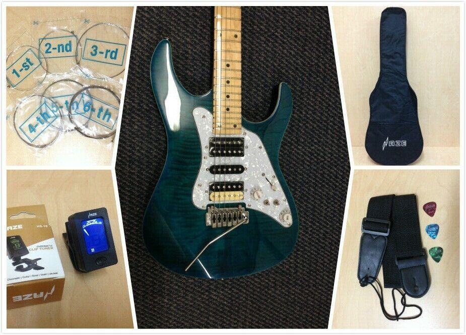 Haze Forrest Angel Teal Blau 6-String Electric Guitar,HSH+ Free Gig Bag, Strap