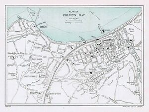 Map of the Town COLWYN BAY Street Plan Vintage Folding Map 1938