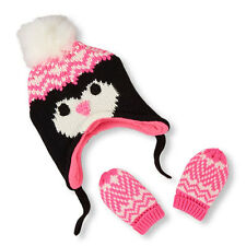 Baby Girls Fair Isle Penguin Hat And Mittens Set size (0-6 mos)