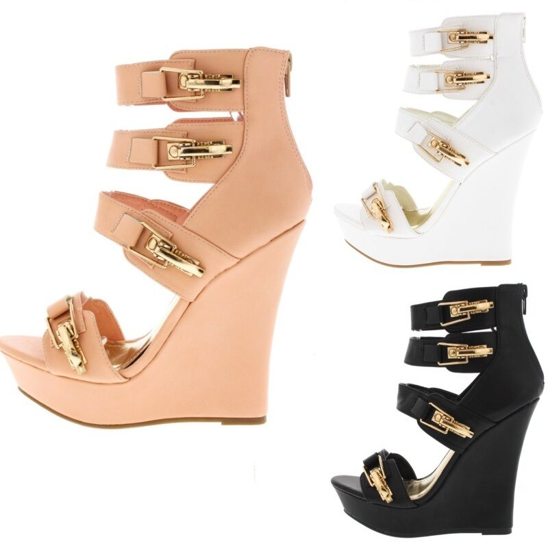 Open Toe Cut Out Buckle Straps Platform Wedge Gladiator Wedge Platform High Heel Sandal Size W1 86fe1b