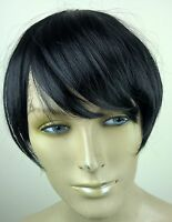 off black clip in on fake fringe bangs hair extension hair piece fancy dress