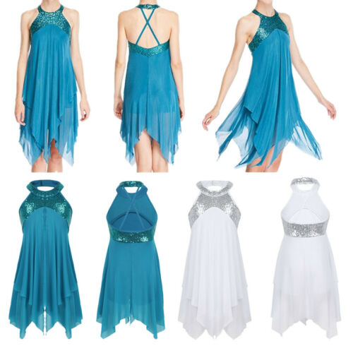 Girls Halter Sequins Ballet Dance Dress Kids Lyrical Leotards Modern Dance Wear
