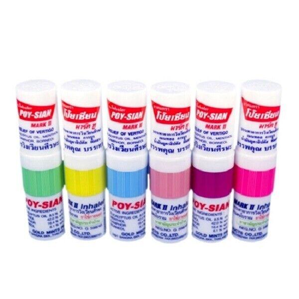 6pcs POY Sian Mark 2 II Nasal Smell Dizziness Inhaler Bracing Breezy Asthma