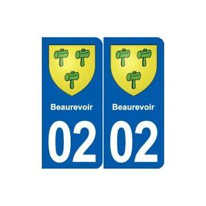 02 Beaurevoir Blason Ville Autocollant Plaque Sticker Couleur Rapide