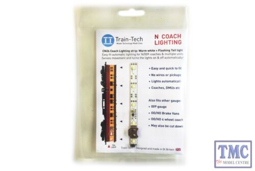 TTCN26 Train Tech N Scale Warm White Coach Lighting Strip with Flashing Tail Lam