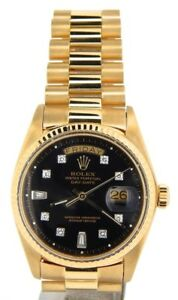 Mens-Rolex-Day-Date-President-18KT-18K-Yellow-Gold-Watch-Black-Diamond-Dial-1803