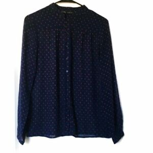 Zara Basics Womens Size Small Sheer Blouse Top Button Front Navy with Red Dots