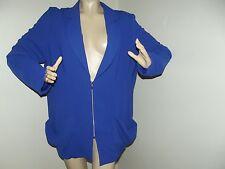 Womens PLUS SIZE 3X ROYAL COBALT BLUE JACKET coat blazer ZIPPER FRONT (26W-28W)