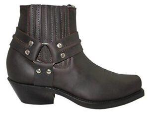 marrone da Grinders Harness da Boots pelle uomo da alto Lo in uomo cowboy vwq6wt
