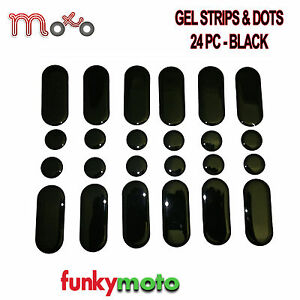 24-PACK-BLACK-STICKY-GEL-STICKER-STRIPS-DOTS-DASHES-MOTORCYCLE-BIKE-TANK-PAD