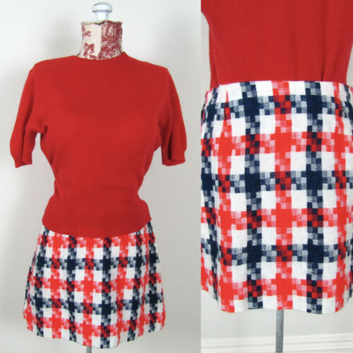 Vintage 60s 70s MOD CHECK MINI SKIRT Plaid Red Blu