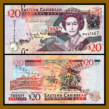 East Caribbean States 20 Dollars, 1012 P-53 Marking for the Blind QE II Unc