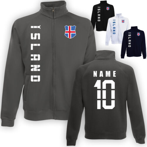 Islanda Ísland Giacca Sweatjacke MAGLIA CON NOME /& NUMERO S M L XL XXL