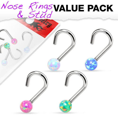 choose 18g or 20g 4pcs Synthetic Opal Ball Steel Nose Screws Value Pack