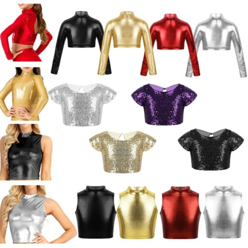 Girls Metallic Dance Crop Top Gymnastics Performing Show Costume Kids Daily Wear