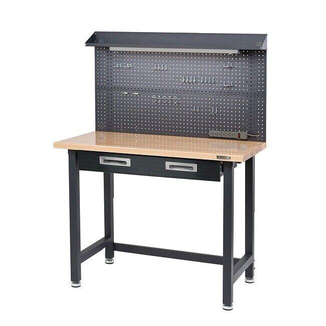 Wood Top Workbench Heavy Duty Garage Workshop Work Bench Lighted Hardwood HD New