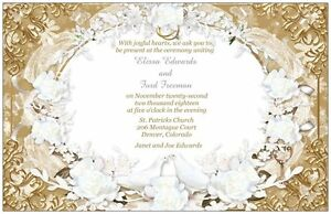 50-100-Vintage-Retro-White-DOVES-Flowers-Gold-PERSONALIZED-WEDDING-Invitation