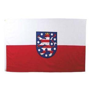Fahne Thüringen Wappen, Größe: 90 x 150 cm, mit Verstärkungsba<wbr/>nd