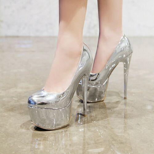 Details about  /46//47//48 Women Club T Show Stage Shiny Color Pumps 16cm High Heel Platform Shoes