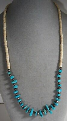 Turquoise  Gemstone Heishi Bead Sterling Silver Southwestern Necklace