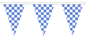 20m with 48 Flags Blue and White Chequered Check Polyester Bunting
