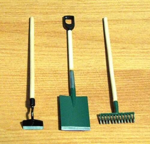 1//12 Miniature Dolls House LG Hand Garden Tools Set Rake Shed Herbs Bonsai LGW