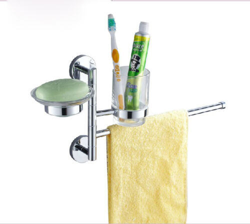 Chrome Bathroom Accessory Set Toothbrush Holder Cup Soap Dish Towel Bar Assembly