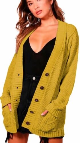 Plus Size Womens Long Sleeve Button Top Chunky Cable Knitted Pocket Cardigans