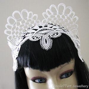Ariel - White Lace Cat Ear Fascinator Horse racing Crown Burlesque ... 64abd0caf62